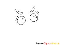 Images à colorier yeux – Dessin clipart
