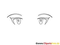 Regard image à colorier – Dessin clipart