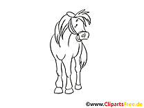 Cheval illustration à colorier gratuite