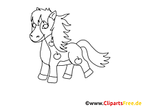Coloriage poney image à télécharger – Cheval clipart