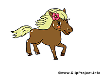 Maron poney illustration gratuite – Cheval clipart