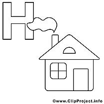 Haus illustration – Coloriage alphabet allemand cliparts