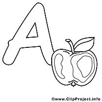 Apple clip art – Alphabet anglais image à colorier