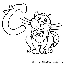 Cat images gratuites – Alphabet anglais à colorier