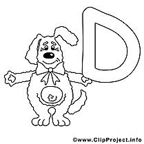 Dog dessin – Alphabet anglais gratuits à imprimer