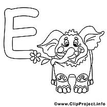 Elephant image à télécharger – Alphabet anglais à colorier