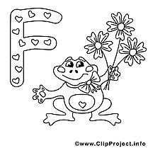 Frog illustration – Alphabet anglais à colorier