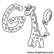 Giraffe dessin – Coloriage alphabet anglais à télécharger
