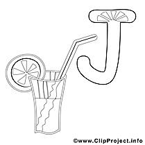 Juice clipart gratuit – Alphabet anglais à colorier