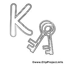 Key clip art gratuit – Alphabet anglais à imprimer
