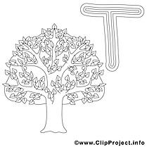 Tree image – Alphabet anglais images à colorier