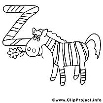 Zebra image – Alphabet anglais images à colorier