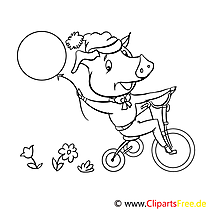 Cochon clip art gratuit – Animal à colorier