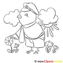 Coloriage oiseau illustration à télécharger