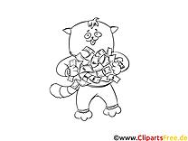Chat illustration – Coloriage argent cliparts