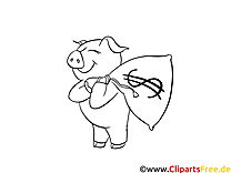 Cochon dessin – Argent gratuits à imprimer