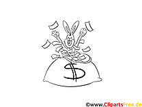 Dollars images gratuites – Argent à colorier