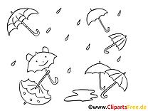 Chat parapluies illustration – Automne à colorier