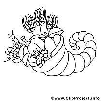 Corne dessin – Coloriage automne à télécharger