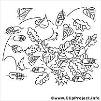 Feuilles image – Coloriage automne illustration