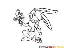 Lapin clipart gratuit – Automne à colorier