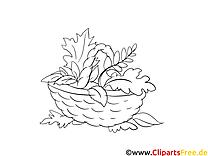 Panier image à télécharger – Automne à colorier