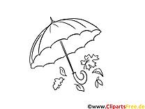 Parapluie dessins gratuits – Automne à colorier
