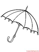 Parapluie image – Coloriage automne illustration
