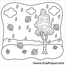 Pluie illustration – Automne à imprimer