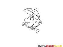 Vole parapluie illustration – Automne à imprimer