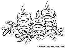 Bougies dessin gratuit – Noël à colorier