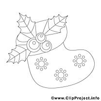 Chaussette dessins gratuits – Noël à colorier
