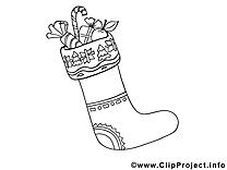 Chaussette image à télécharger – Noël à colorier