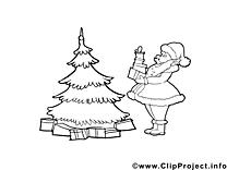 Clipart gratuit sapin – Avent à colorier
