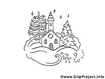 Église dessin à télécharger – Avent à colorier