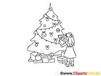 Sapin clipart gratuit – Avent à colorier