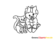 Chat clipart – Bébé dessins à colorier