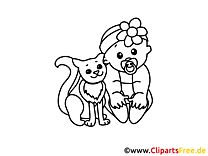 Chat illustration – Coloriage bébé cliparts