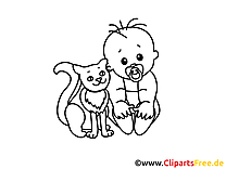 Chat image – Bébé images à colorier