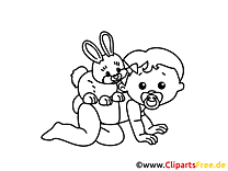 Lapin image – Coloriage bébé illustration
