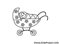 B b coloriages clipart images t l charger gratuit - Poussette dessin ...