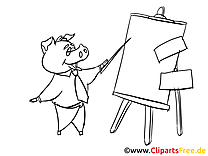 Cochon plan clipart à coloriage – Bureau dessins