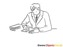 Image à colorier travail – Bureau clipart