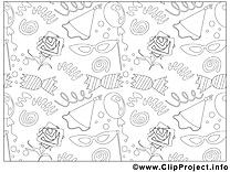 Décoration images gratuites – Mardi gras à colorier