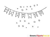 Drapeaux illustration – Mardi gras à imprimer