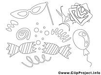 Fête image – Coloriage mardi gras illustration