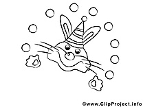 Lapin image – Mardi gras images à colorier