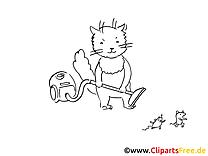 Aspirateur clip art gratuit – Chats à colorier