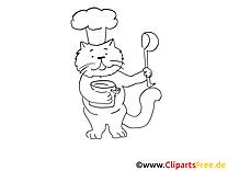 cuisinier dessin chats gratuits imprimer