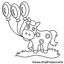 Ballons clip art gratuit – Cheval à imprimer
